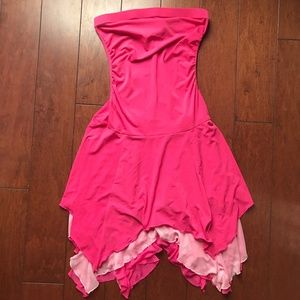 Pink Ruffle Hem Dress
